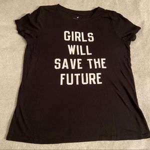 AE Black soft & sexy girls save the future tee Med